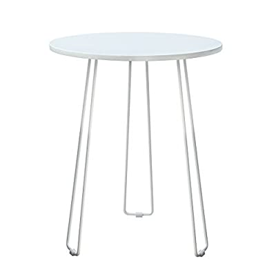 POLY & BARK Coffette Hairpin End Table, White - High-gloss lacquered wood top Simple assembly Powder coated metal Hairpin Legs - living-room-furniture, living-room, end-tables - 31yknL0MEnL. SS400  -