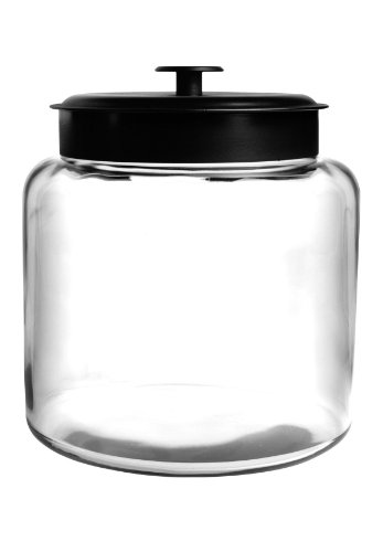 Anchor Hocking Montana Glass Jar with Airtight Lid, Black Metal, 1.5