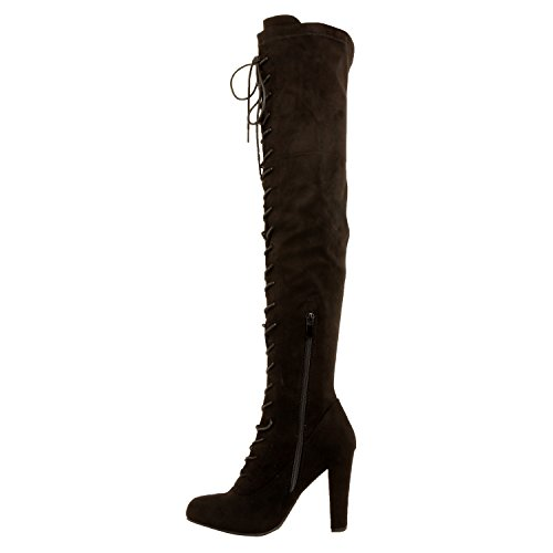 Guilty Schuhe Damen Sexy Pull Up Stiletto Slouchy High Heel - Overknee Oberschenkel Hohe Stiefel Blackv1 Wildleder