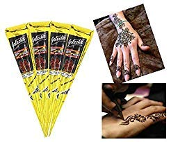- India Painting Tattoo Paste Cone,4 Tube Black Paste Cone Indian Body Art Painting Drawing with free Stencil