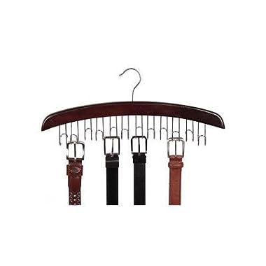 Richards Homewares Closet Accessories 12 Belt Hardwood Hanger Walnut (2-Pack)