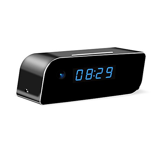 Wi-Fi Hidden Clock Camera, 16GB Included Wireless Mini Security Camera Rechargeable Alarm Motion Detection for Home Security (Full HD 1080P)