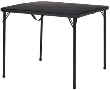Mainstays 34 Square Fold-in-Half Table, Black, Folds for Easy Storage