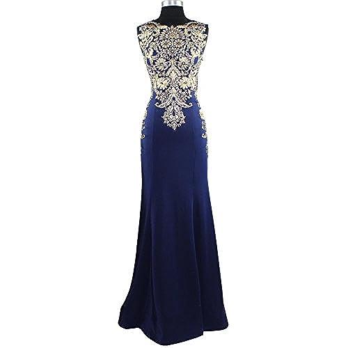 Meier Womens Sleeveless Gold Embroidery Long Formal Evening Dress Size 8