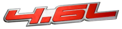 4.6L Liter Embossed RED on Highly Polished Silver Real Aluminum Auto Emblem Badge Nameplate for Ford Crown Victoria Police Interceptor Thunderbird F E Series Expedition Explorer Sport Trac Mustang SVT ()