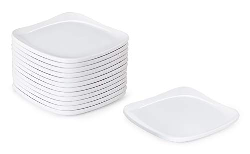 G.E.T. Enterprises CS-6115-W-EC 5'' Square Coupe Plate, Siciliano Dinnerware, White (Pack of 4)
