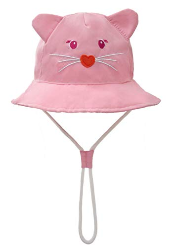 Baby Girl Bucket Hat with Chin Strap - Toddler Boy Quickly Dry Sun Protection Beach Hat (L 50/12-24 Months, Cotton Cat)