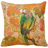 Green Yellow Tropical Parrot Bird Orange Red Throw 18*18 pillow Case