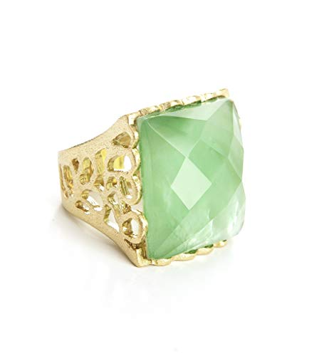 - Rivka Friedman Apple Green-Mother of Pearl Doublet Cocktail Ring