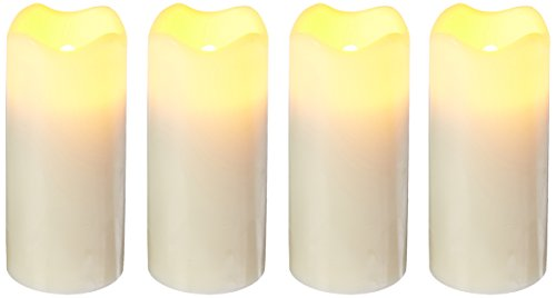 Flipo Pacific Accents Ivory Wax Wavy Top Votives with Timers Set of 4