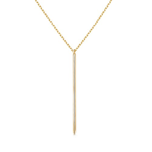Long Necklace 925 Sterling Silver Y Layer Simple Bar Pendant Necklace Center Long Lariat Chain Necklace for Women Girls,25 inch (Gold-2) ()