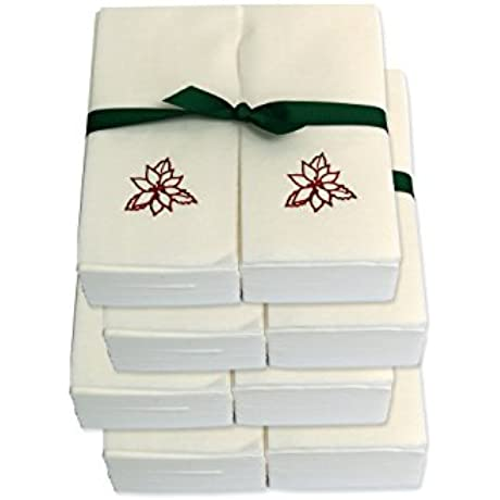 Disposable Guest Hand Towels With Ribbon Embossed With A Red Poinsettia 750ct