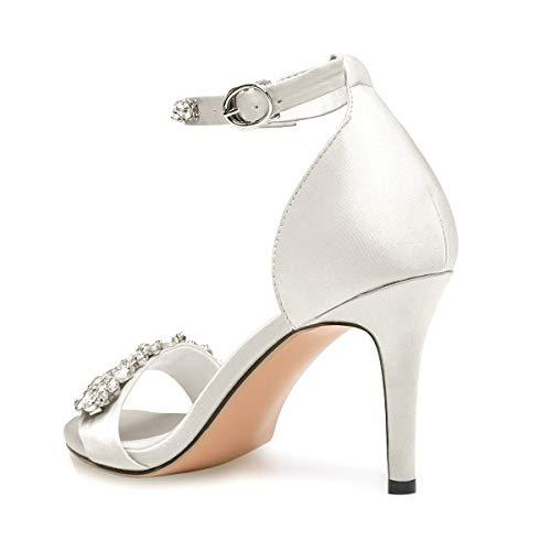 2b30c68a210b onlymaker Women s Rhinestone Embellished High Heel Sandals Ankle Strap  Strappy Bridal Pumps
