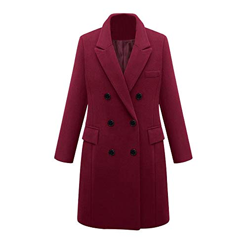 Womens Winter Lapel Wool Coat, Trench Jacket Long Parka Overcoat Outwear, Sunsee Grill New