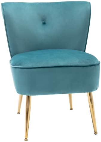 Accent Side Chairs Modern Upholstered Wingback Seat Chairs for Living Room, Bedroom,Teal Blue Velvet Fabric,Including Golden Metal Legs
