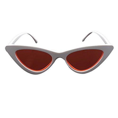 Hukai Men Women Fashion Triangle Colored Lens Vintage Protection Goggles Sunglassess (Red - Mirror Virtual Sunglasses