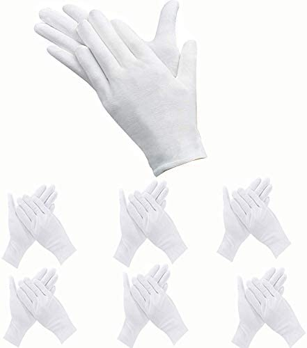 12Pairs White Cotton Gloves Coin Jewelry Gartenarbeit Inspection Leichtgewicht