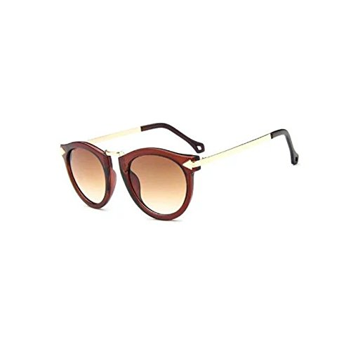 Garrelett Retro Classic Metal Arrow Sunglasses Reflective Sun Eyewear Eyeglasses Brown Frame Brown Lens for Girls - Brown Vs Gray Sunglasses