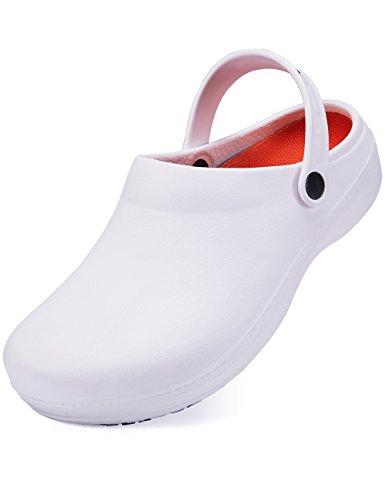 SensFoot Slip Resistant Clogs For Men White Non Slip Chef Work Shoes For Restaurant (12D(M)) (Done Floor Care System)