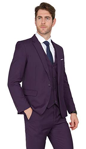 MAGE MALE Men's 3 Pieces Suit Elegant Solid One Button Slim Fit Single Breasted Party Blazer Vest Pants Set,Purple,XX-Large