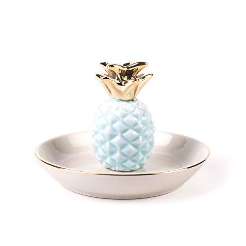 BESKIT Ceramic Pineapple Ring Holder Ananas Jewelry Dish Decor Jewelry Organizer, Jewelry Tray, Pineapple Jewelry Plate ()