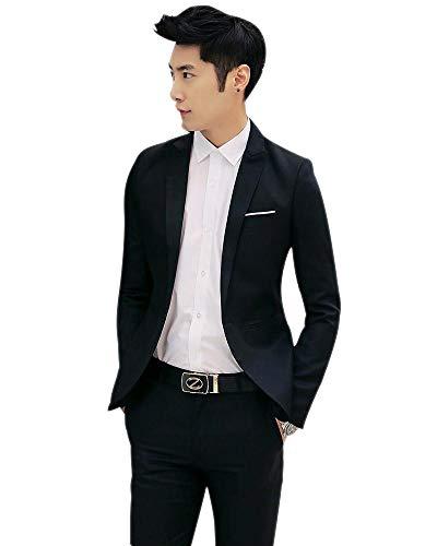 Pantalons Blazer Slim And Fit Veste Costume Mariage Vestes Affaires Manteau 2 Xfentech Elégant Noir Hommes Pièces De OUPpwq68