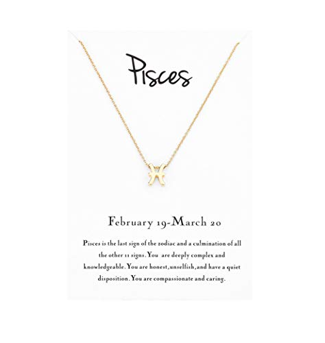 Mocya Pisces Zodiac Necklace for Woman Jewelry Horoscope Constellation Pendant Astrology Birthday Gifts