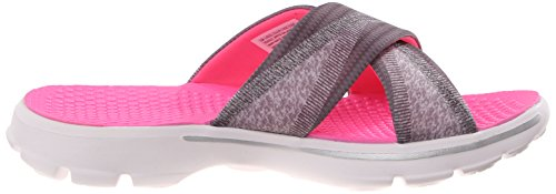 Skechers Womens Performance Go Walk Fiji Flip Flop Carboncino / Rosa Caldo