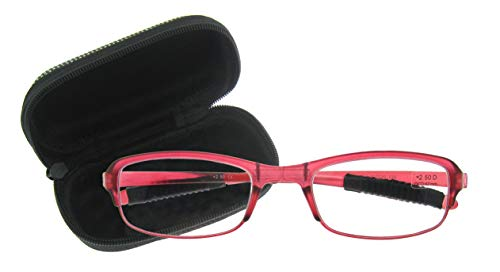 OCCI CHIARI Womens Lightweight Designer TR90 Stylish Pink Rectangular Reading Glasses 1.5 2.0 2.5 3.0 (E-Pink,51-20-135, 3.0)
