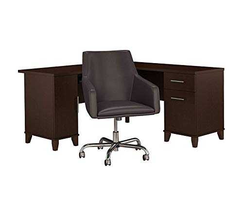 - Wood & Style Furniture 60W L Shaped Desk with Mid Back Leather Box Chair in Mocha Cherry Premium Office Home Durable Strong