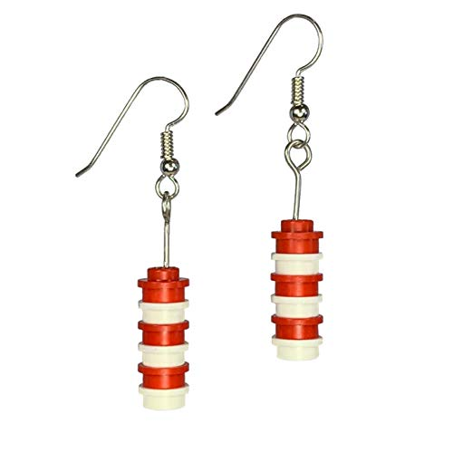 Red and White Brick Drop Earrings - Solid
