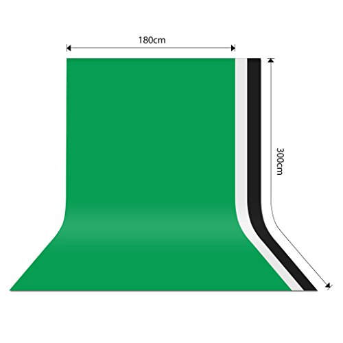 CRAPHY Green Screen Silk Cotton No Creases 1.8x3M / 6x10ft Studio Backdrop Thick Opaque Background Sheet for Portrait Photo Photography Professional Uses (Backdrop only) - Green