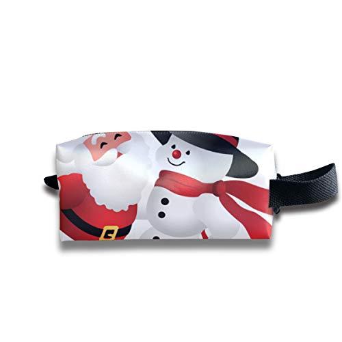 (Clash Durable Zipper Wallet Makeup Handbag With Wrist Band Cute Christmas Clipart Snowman Toiletry Bag)