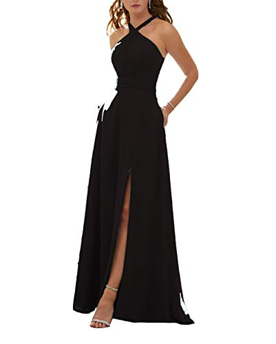 Stylefun Women's Halter Bridesmaid Dresses Slit 2019 Formal Prom Evening Party Gowns with Side Pockets 10 Black