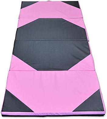 体操マット 94.49x47.24x1.97インチ体操パネル折りたたみジムパッドエクササイズヨガタンブリングフィットネスマット (色 : ピンク, サイズ : 240x120x5cm)