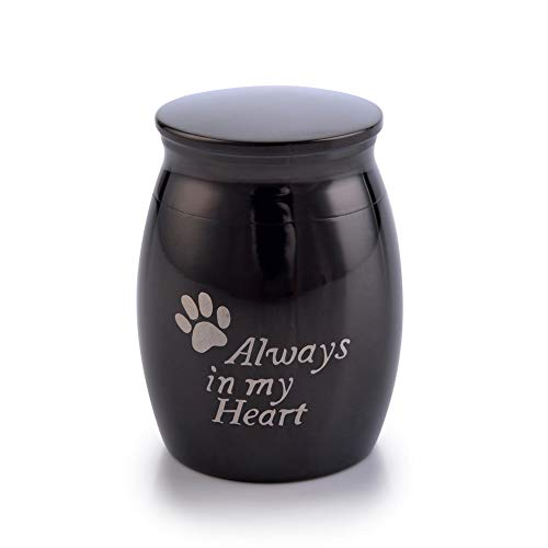 (Sunling in My Heart Paws Engraved Small Stainless Steel Decorative Memorial Keepsake Cremation Urns Jar for Human Pet Ashes Funeral Bottle Holder for)