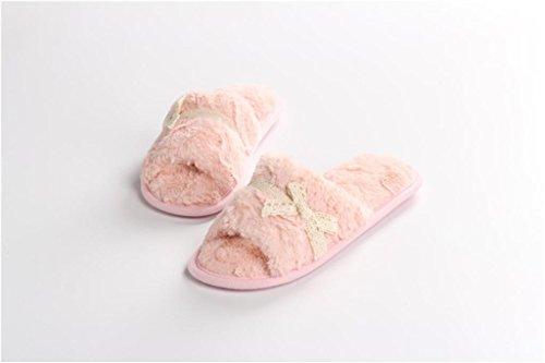 de mouth suave pink zapatillas felpa por casa Zapatillas damas cordón Super estar lace Casa drag de 67fFwgdW