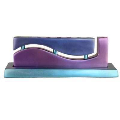 Yair Emanuel Anodized Cast Aluminum 9 Candles Hanukkah Menorah - Wave (Blue Violet Turquoise) by Yair (Cast Aluminum Hanukkah Menorah)