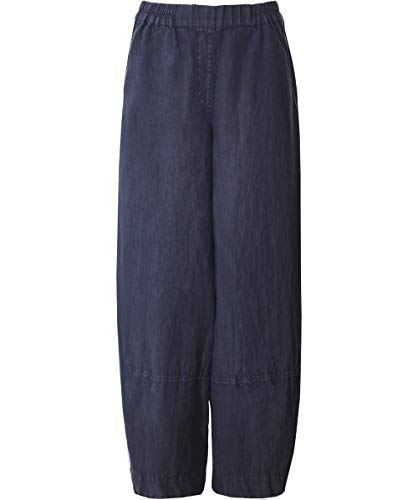 Grizas Elástica De Lino Pantalones Gris Mujeres Cintura x7w0q7v8U