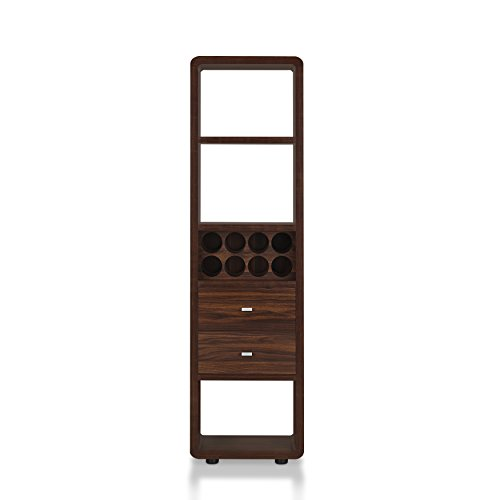 HOMES Inside Out Tabbart Contemporary Dark Walnut Standing Wine Cabinet