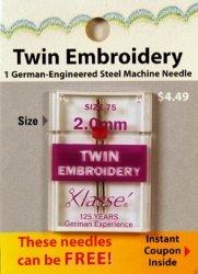Klasse' Twin Embroidery Needle 75/2.0mm