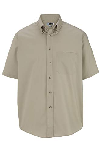 Edwards Men's Easy Care Short Sleeve POPLIN Shirt Large Tan
