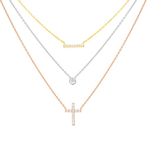 Devin Rose White Cubic Zirconia Layered Cross & Bar Necklace for Women in Tri Color Plated Sterling Silver ()