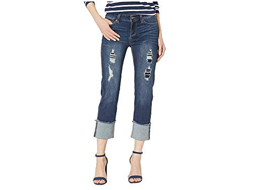 Liverpool Women's Morgan Wide Cuff Crop with Destruct Detail in Vintage Super Comfort Stretch Denim in Chapman Wash Chapman Wash 12 30