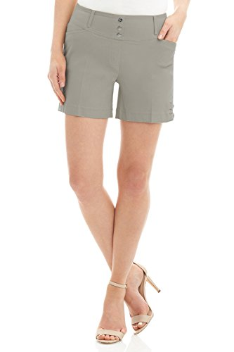 Rekucci Women's Ease Into Comfort Stretchable Pull-On 5 inch Slimming Tab Short (18,Silver)