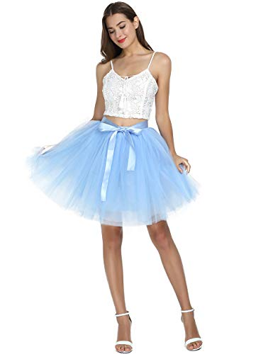 Women's High Waist Princess Tulle Skirt Adult Dance Petticoat A-line Wedding Party Tutu Lake Blue -