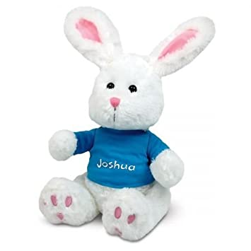Amazon personalized easter plush bunny with blue t shirt 12 personalized easter plush bunny with blue t shirt 12quot tall childs name negle Images