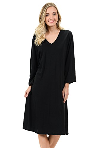 Bamboosa Women's 3/4 Sleeves Sleep Shirt 70% Viscose From Organic Bamboo&30% Organic Cotton Made US (3/4 Sleeve Nightshirt)