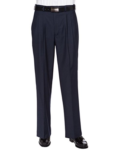 (GIOVANNI UOMO Mens Pleated Front Expandable Waist Dress Pants Navy 38W x 32L )