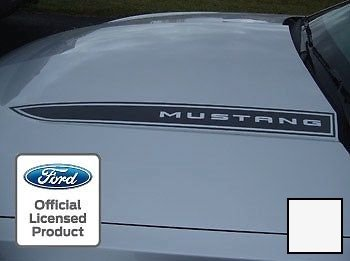 Ford Mustang Hood Spear Cowl Stripe graphic decal sticker package -LOA White -CW (fits 2010-2012) [set of 2] Mustang Cowl Hoods